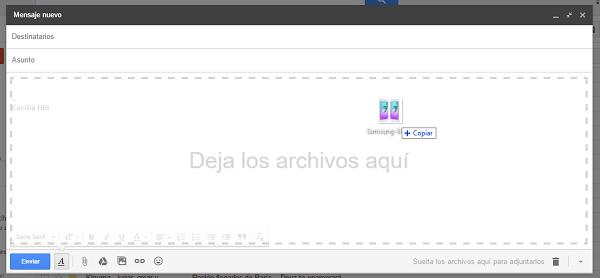 gmail arrastrar imagen