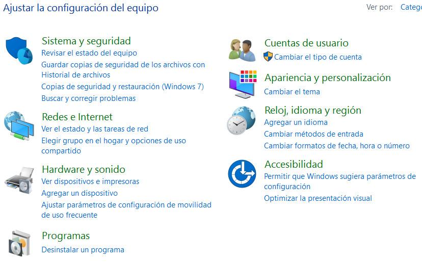 panel de control windows 7