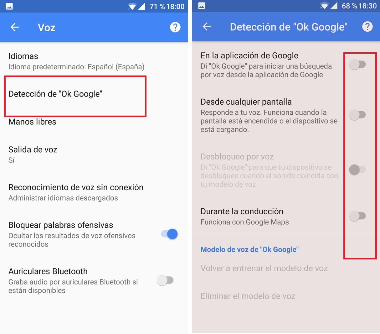configuracion voz google now