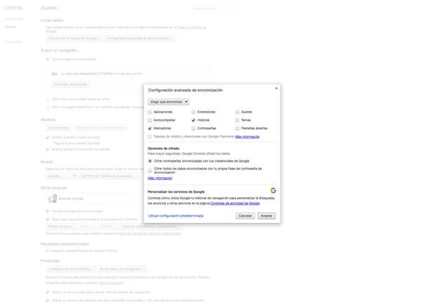 sincronizar google chrome escritorio