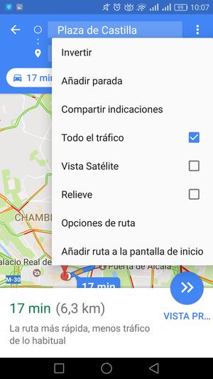 google maps menú