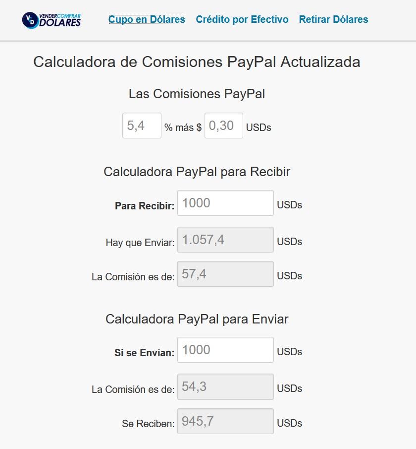 Como calcular la comision de PayPal al enviar dinero 1