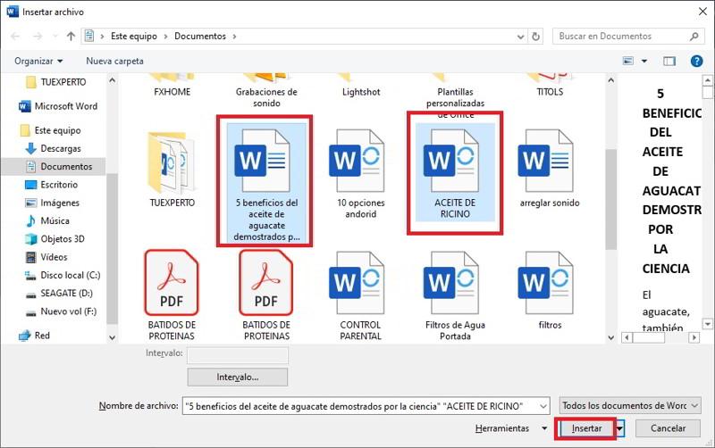 Como fusionar dos documentos de Word en uno solo 2