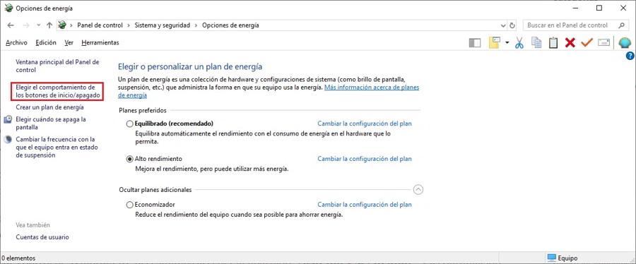 activar el arranque rapido de Windows 10 1