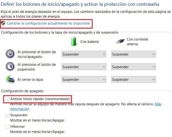 activar el arranque rapido de Windows 10 2
