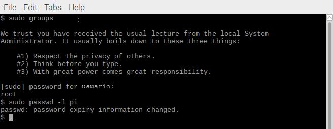cambiar la contraseña por defecto de Raspbian 3