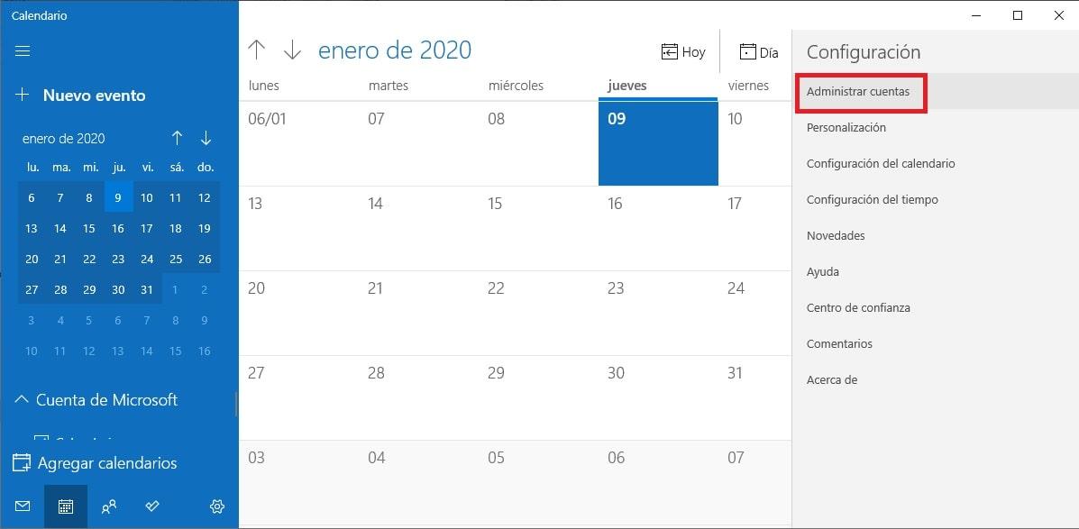 combinar Google Calendar con la app Calendario de Windows 10 2