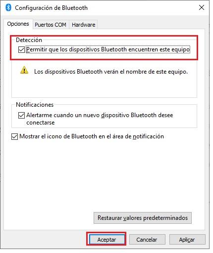 Permite que los dispositivos Bluetooth encuentren tu PC 2