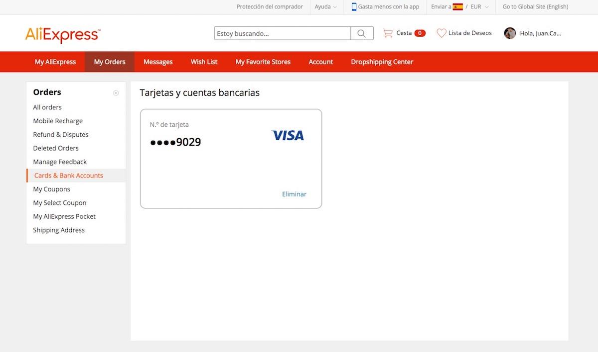 Cómo añadir y configurar una tarjeta en AliExpress en 2020 1