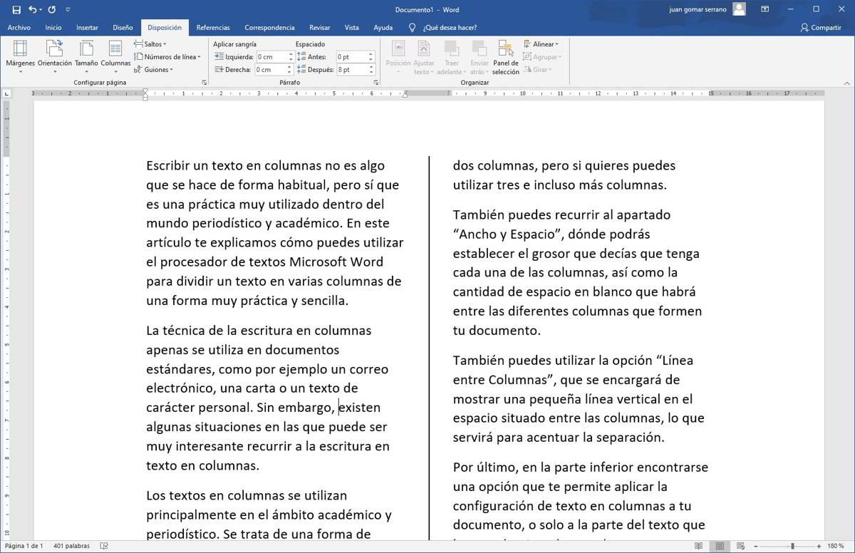 Como dividir un documento de Word en dos columnas
