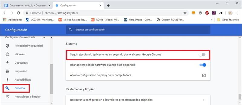 Desactivar Chrome en segundo plano
