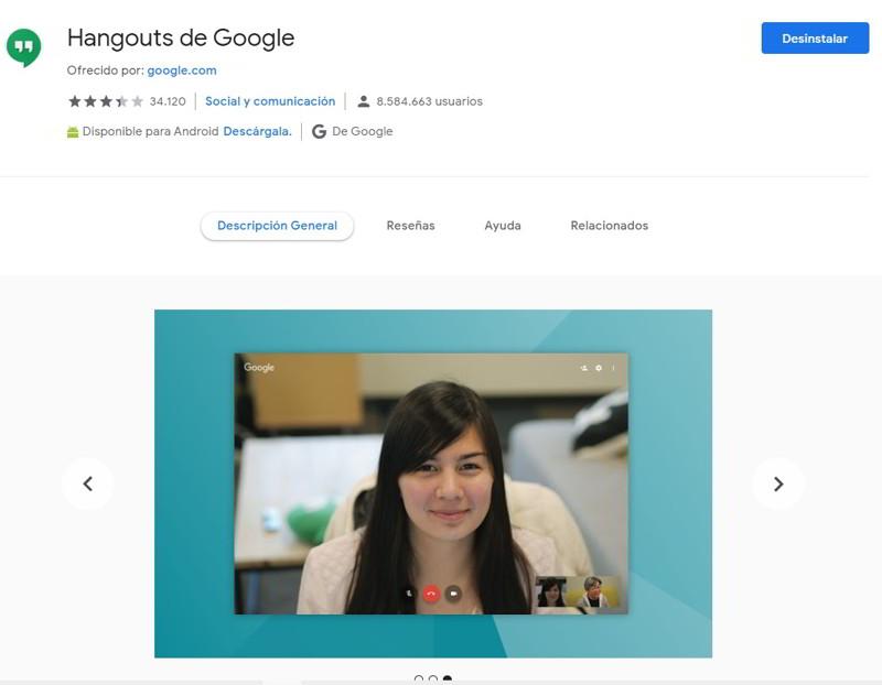 Desinstala la extensión de Google Hangouts