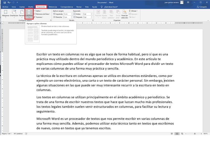 dividir un documento de Word en dos columnas 1