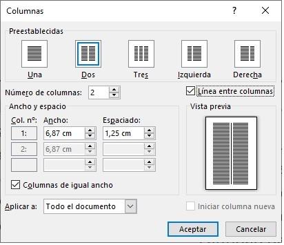 dividir un documento de Word en dos columnas 2