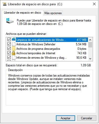 Ejecuta la herramienta de limpieza de archivos en el disco duro