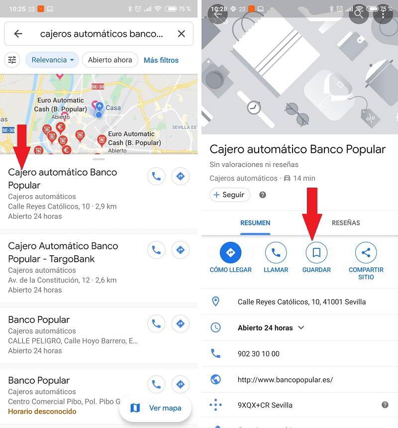 google maps cajeros