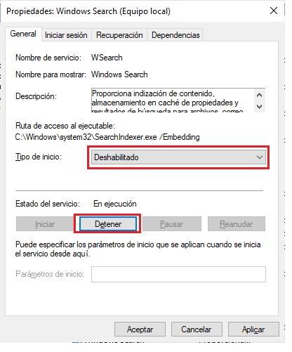 Desactiva la indexacion de las busquedas para mejorar la bateria 2