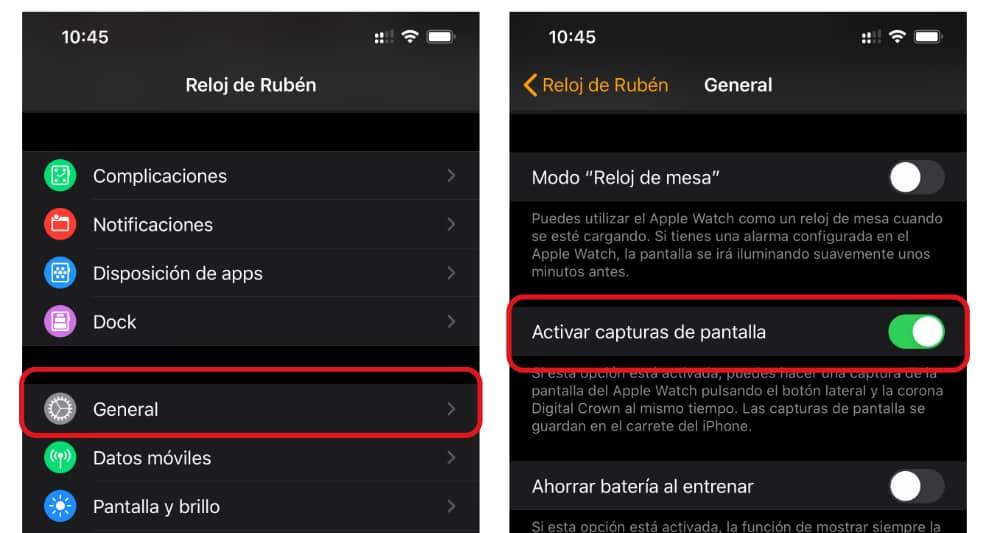 Apple Watch captura pantalla
