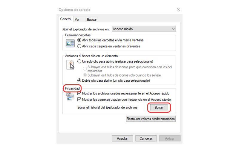 cómo eliminar el historial de archivos recientes en Windows 10 opciones de carpeta