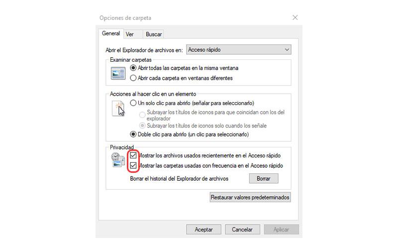 cómo eliminar el historial de archivos recientes en Windows 10 desactivar opciones