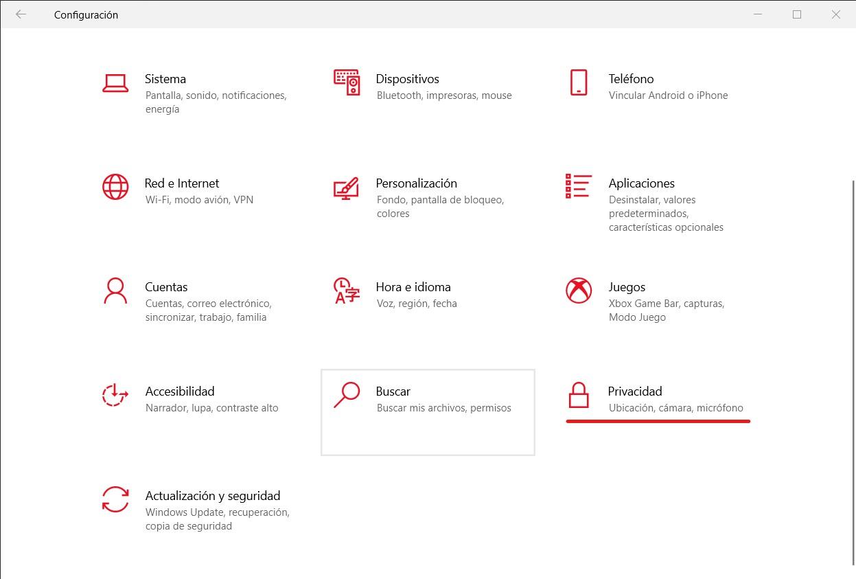 Abrir configuración de privacidad en Windows 10