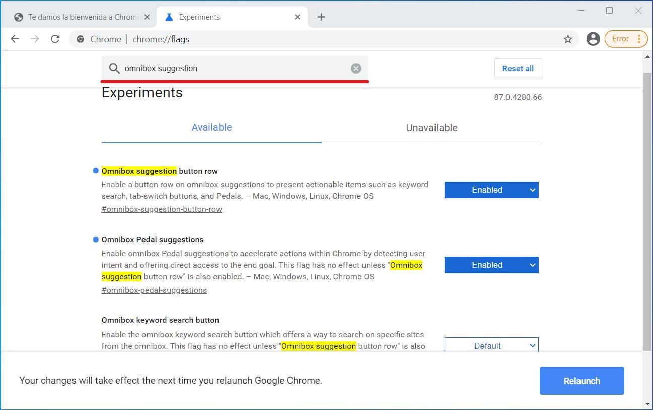 Buscar banderas en Chrome