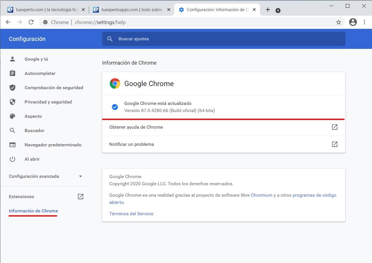 Cómo saber la versión de Chrome