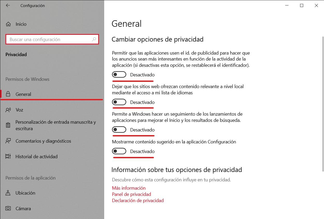 Configuración general de privacidad