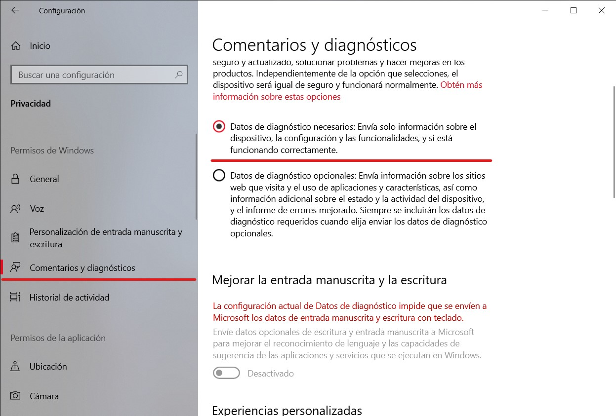 Datos de diagnosis en Windows 10