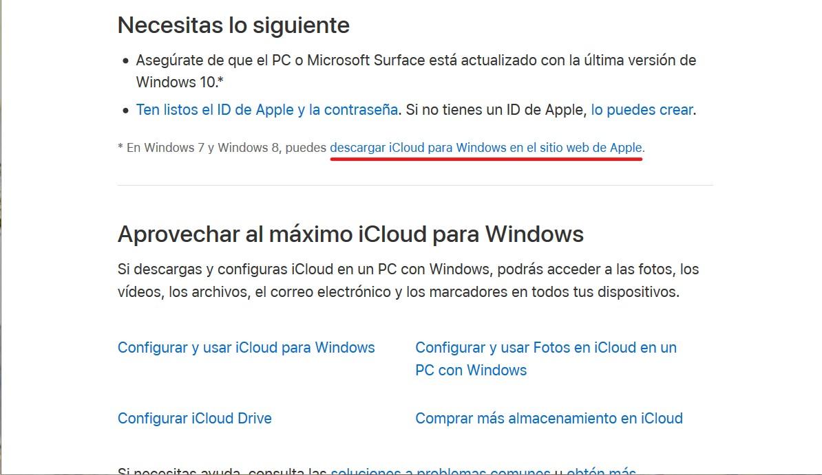 Descargar el instalador de iCloud