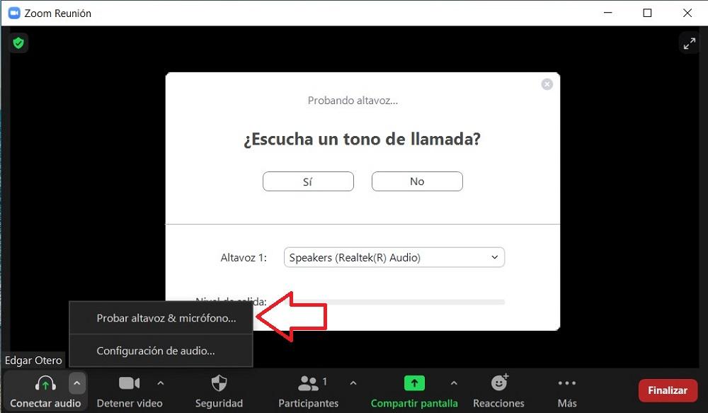 Probar salida de audio