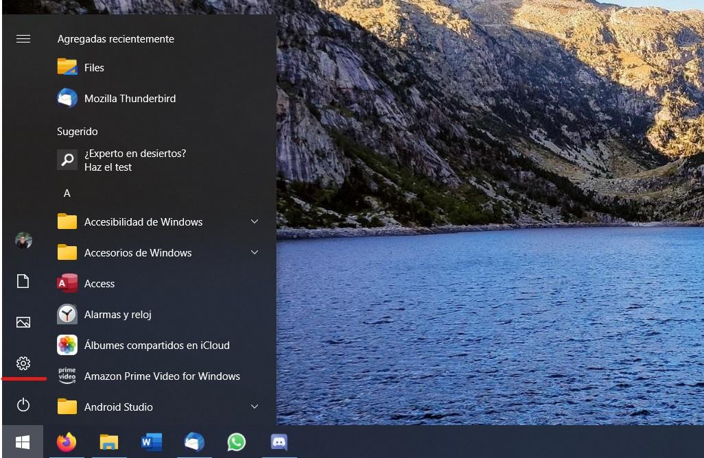 Abrir los ajustes de Windows 10