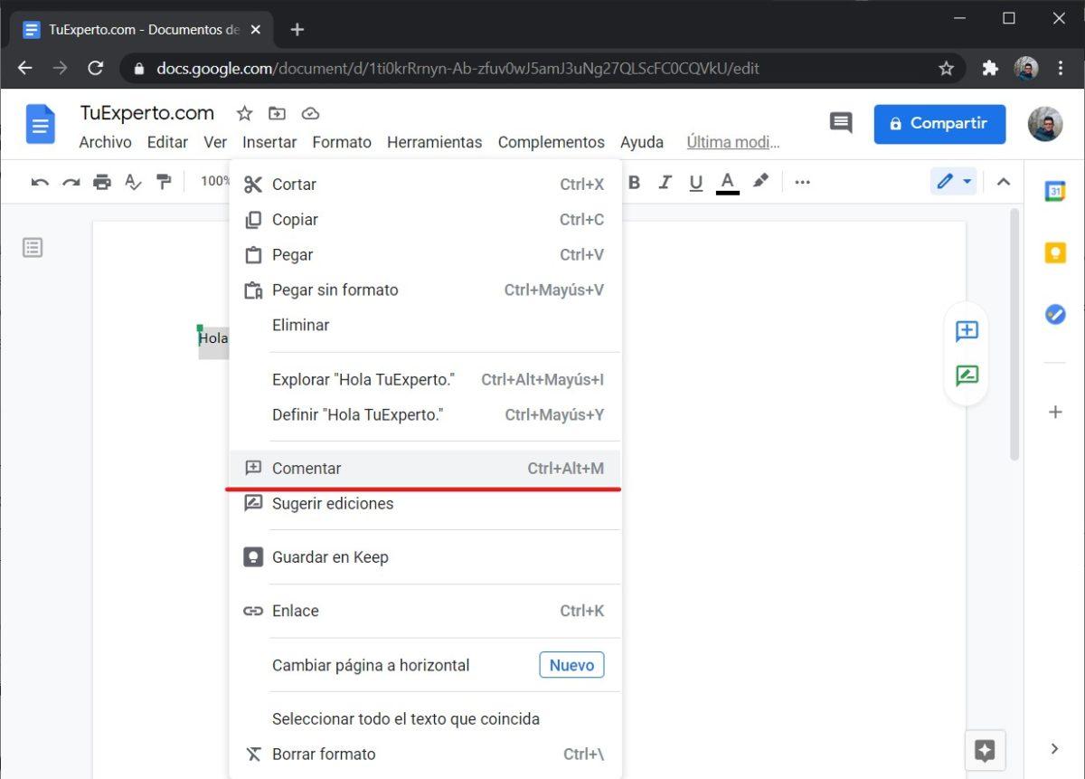 Añadir comentarios en Google Docs