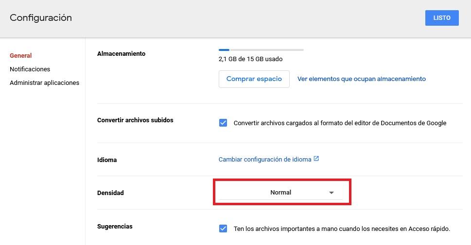 Cambiar la densidad de Google Drive