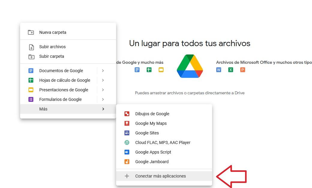 Contectar aplicaciones en Google Drive
