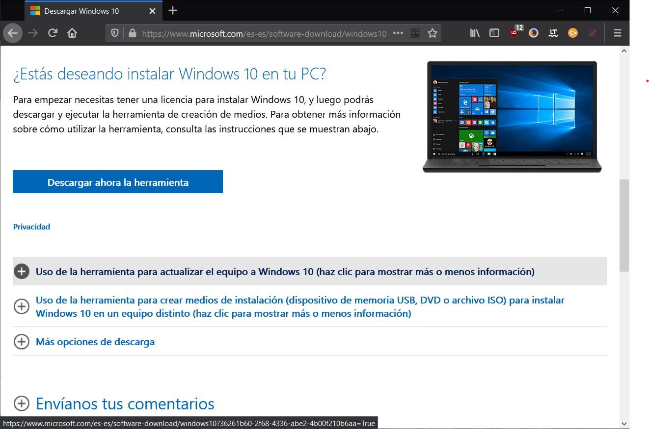 Descargar herramienta de creación de medios de Windows 10