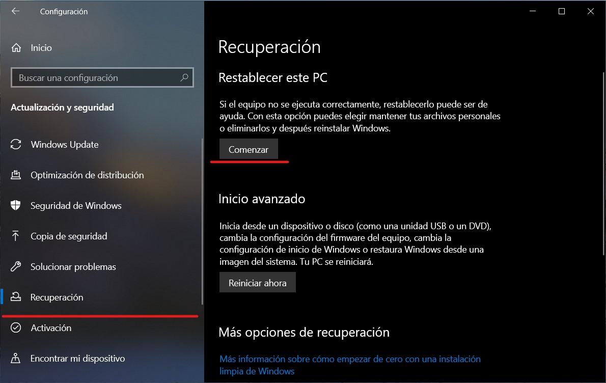 Iniciar el proceso de restablecimiento de Windows 10