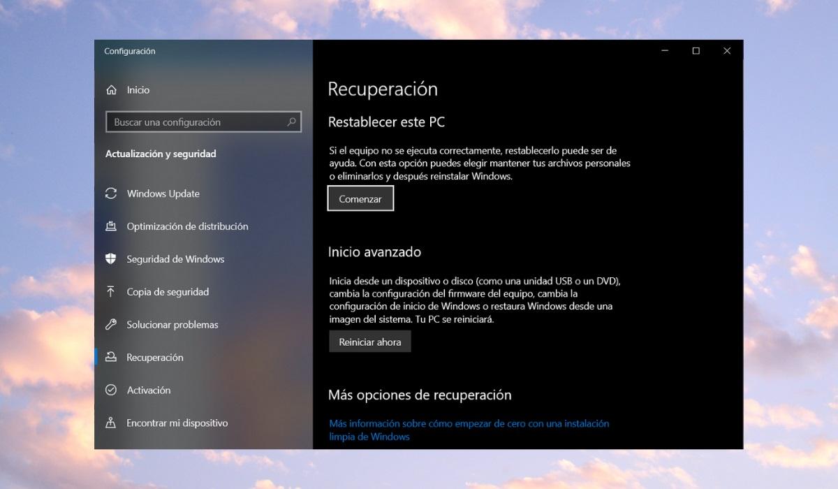 Restablecer un ordenador con Windows 10