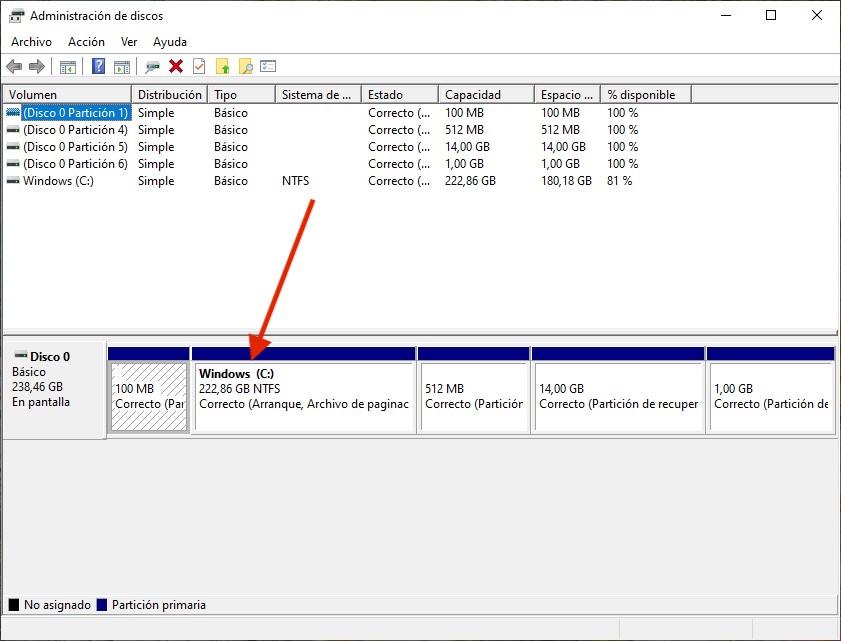 2 Administrador de discos de Windows 10