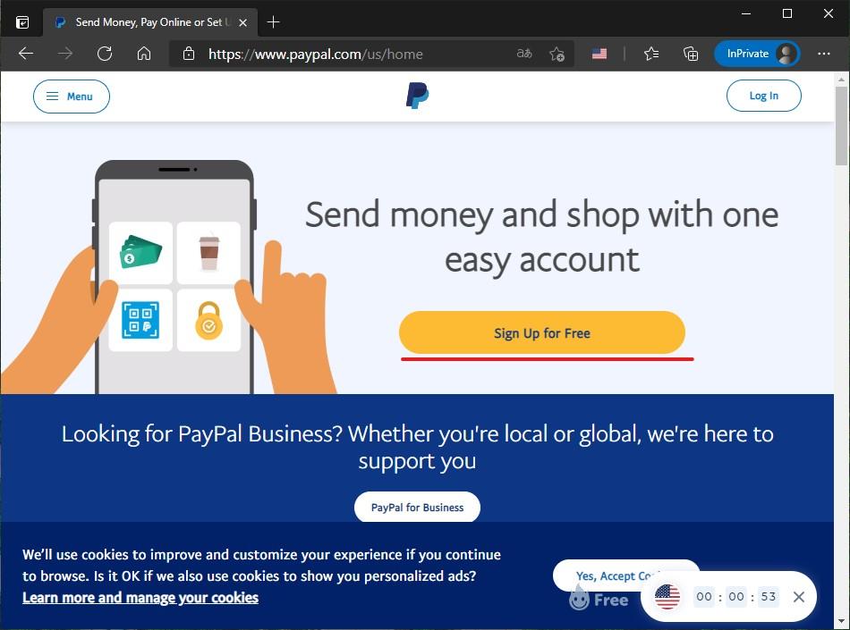 7 Crear nueva cuenta de PayPal
