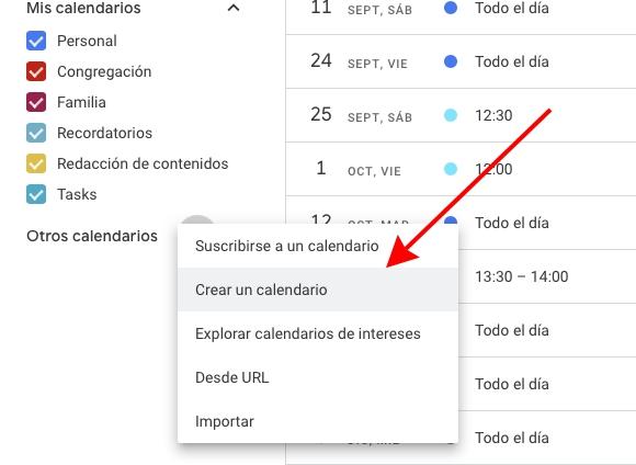 Añadir un nuevo calendario a Google Calendar