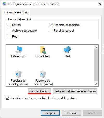 Cambiar los iconos básicos de Windows
