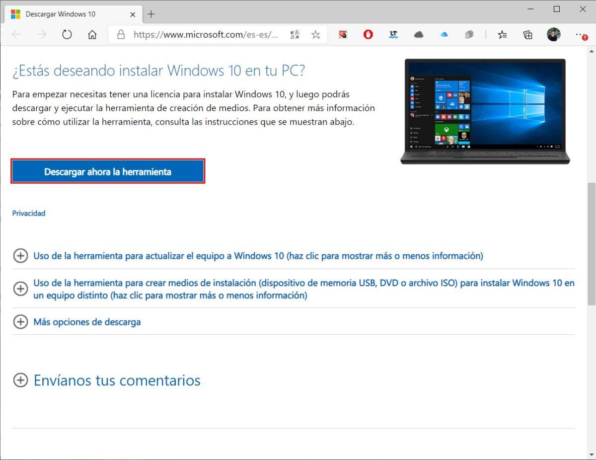Descargar la herramienta de Microsoft