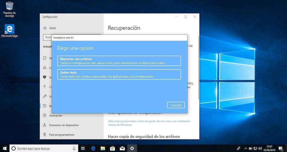 restablecer ordenador con windows 10 2